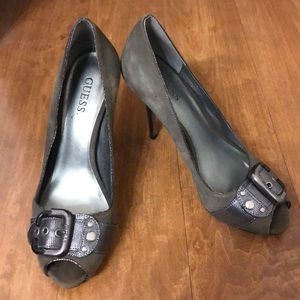 Silver Guess Heels with Buckle Detail
